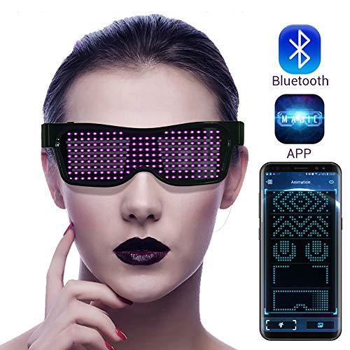 AIMMMY Led Gläser, Bluetooth-LED Party Brille, Luminous Flashing Shutter Neon Brille, Multicolor LED Leuchtgläser Mit APP-Steuerung Für Party Weihnachten Geburtstag,Lila