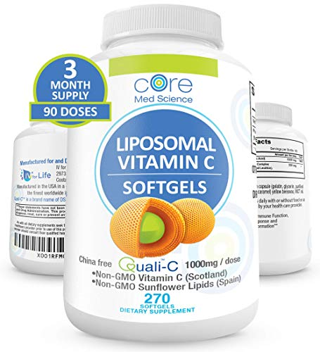 Liposomal Vitamin C Softgels 1000mg/dose - 3 Month Supply - 270 softgels - Quali-C Vitamin C from Scotland - USA Made - High Absorption Immunity & Collagen Booster Supplement - Non-GMO Non-Soy