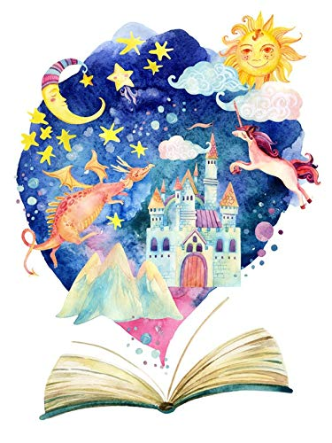 Watercolor Open Book With Magic Cloud Illustration A-91484 (9x12 Wall Art Poster, Digital Print Decoration)