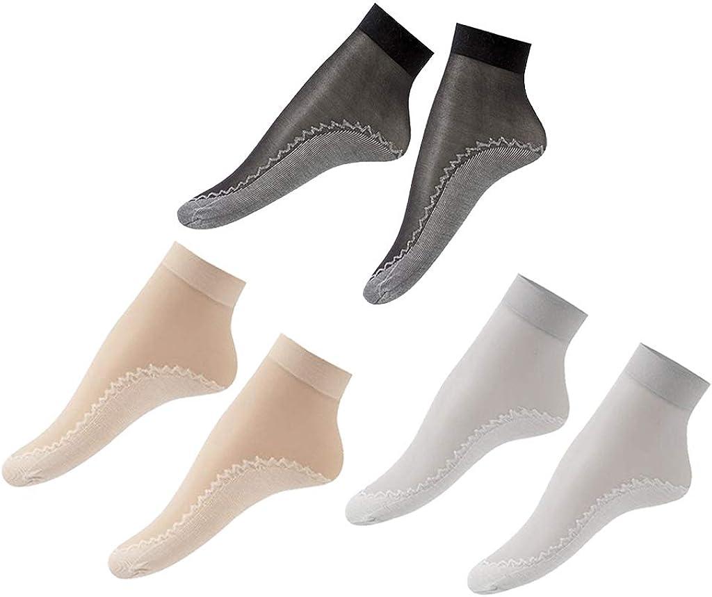 Harilla 60pcs Lady Nylon Silk Summer Socks Sheer Lace Wicking Non-Slip Crew Socks