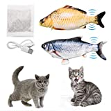 ZITFRI Katzenspielzeug Fisch 2 Stück Elektrische Interaktive KatzenSpielzeug mit Katzenminze - Fisch Spielzeug für Katze zu Spielen, Beißen, Kauen, mit USB Charge(ca. 28cm)