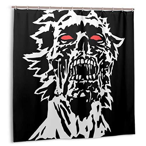 huagu Set de Cortinas de baño para decoración de baño,Concepto de Personaje Head of Black Zombie con Cara Rasgada.Cortinas de baño de Tela Oscura de Halloween con Ganchos 180cmx180cm