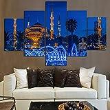 5 Panel HD Islámico Religioso Poster Imprimir Turquía Estambul Sultán Ahmed Mezquita Paisaje en Lienzo Pared Arte Pintura para Salon Habitación Decoracion Sin Marco