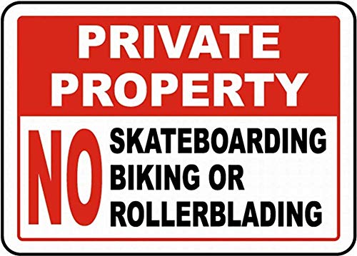 DKISEE Notice Safety Sign No Skateboarding No Rollerblading Sign Warning Caution Street Tin Metal Sign, Rust - Free UV Protected and Weatherproof Aluminum Plaque 18x24 inch