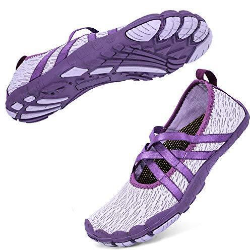 hiitave Women Water Shoes Mary Jane Quick Dry Barefoot Aqua Socks for Walking Beach Swim Pool Yoga Pupple 9 M US Women