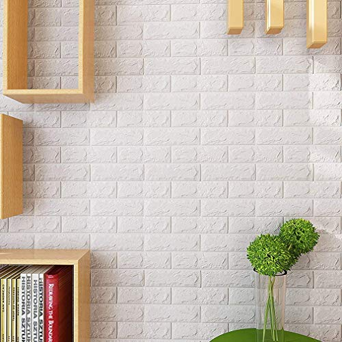 KINLO 5 Pezzi 3D Carta da Parati 70 x 77 cm Mattoni DIY Autoadesiva Wallpaper Brick Adesivi Impermeabile Wall Sticker Decorazione Soggiorno Decorazione Murale Background Wall Decals(Bianca)