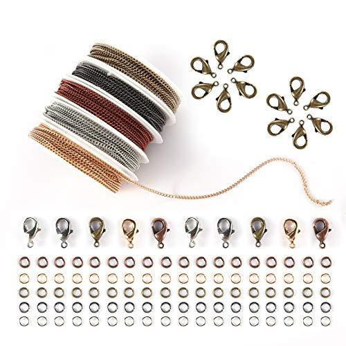 Happy Makers - Cadenas de collar de 49.2 pies, 2 mm para hacer joyas, 5 colores, chapado en latón, con 50 cierres de langosta, 100 anillos abiertos a granel para mujeres y hombres