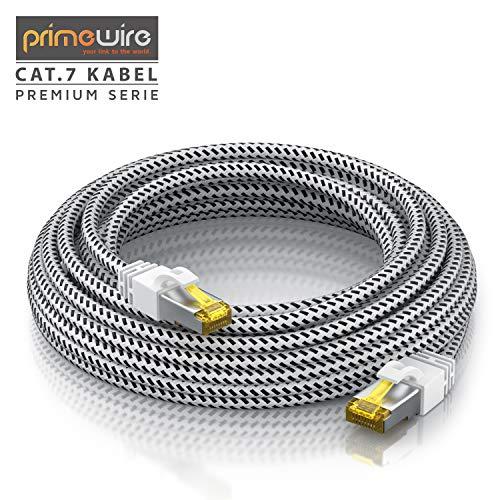 CSL - 30m CAT 7 Netzwerkkabel Gigabit Ethernet LAN Kabel - Baumwollmantel - 10000 Mbit s - Patchkabel - Cat.7 Rohkabel S FTP PIMF Schirmung mit RJ 45 Stecker - Switch Router Modem Access Point
