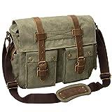 Peacechaos Men's Canvas Camera Bag Leather DSLR SLR Camera Case Vintage Camera Messenger Bag Shoulder Bag Sling Bag (Army Green)