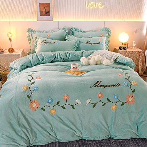 Shinon teddy fleece bedding single blue-Winter bed plus velvet thick crystal velvet duvet cover princess style single double bed single pillowcase P_2.0m bed (4 pieces)