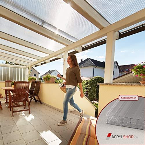 Acrylshop24 Terrassendach Terrassenüberdachung Carport Komplettset Polycarbonat 16mm X-Struktur Stegplatten farblos 16mm Stegplatten Tiefe:4000mm|Breite:6120mm - Mehrere Maße verfügbar