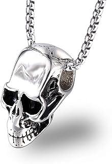be01dfde0ef75 Burenqi Acier Inoxydable Argent Couleur Pendentif tête de Mort Collier  Hommes Punk Gothique Pendentif Squelette avec