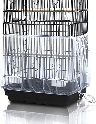 ASOCEA Universal Birdcage Cover Seed Catcher Jupe en nylon pour cage à perroquet Sangle réglable blanche: 78,7 pouces / 200 cm de large: 15,7 pouces / 40 cm (non compris la cage à oiseaux)