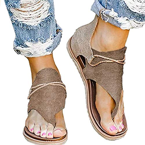 Acutty Women Summer Flat Sandals, Breathable Anti-slip Back Zipper Open Toe Casual Ladies Fashion Leopard Print Flat Heel Slip On Sandals, Casual Summer Vintage Ankle Strappy Thong Sandals for Beach