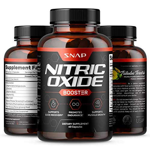 Nitric Oxide Supplements by Snap Supplements - L Arginine, L Citrulline 1500mg Formula, Tribulus Extract & Panax Ginseng, Muscle Builder for Strength & Endurance, Pre-Workout Supplement, 60 Capsules
