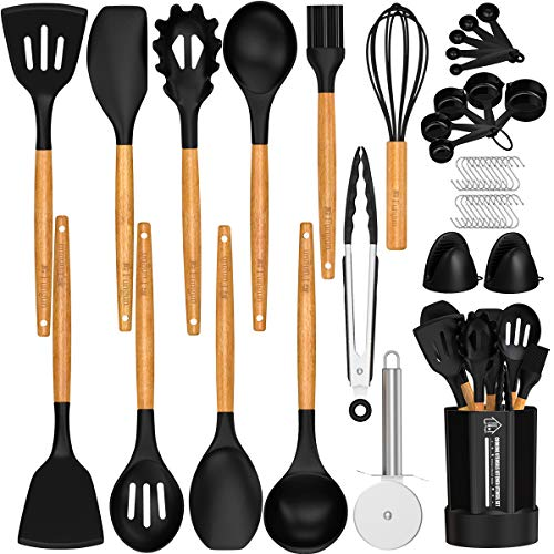Silicone Kitchen Cooking Utensil Set, Fungun 26 Pcs Kitchen Utensils Spatula Set with Utensil Holder for Nonstick Cookware, BPA Free Non Toxic Cooking Utensils, Kitchen Tools Gift (Black)