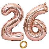 Globos con el número 26, número 26, color oro rosa, para niña, globos de 26 cumpleaños, globos de 26 años, globos de oro rosa número 26, globos grandes de 32 pulgadas, globos gigantes