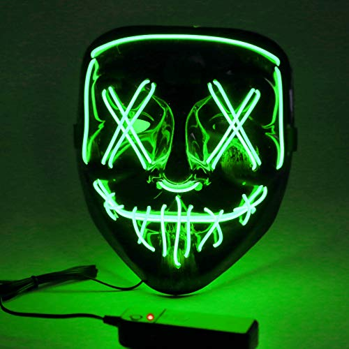 Sylanda LED Maske mit 3 Blitzmodi, EL Wire Cosplay Maske Purge Mask für Halloween Fasching Karneval Party Kostüm Cosplay Dekoration