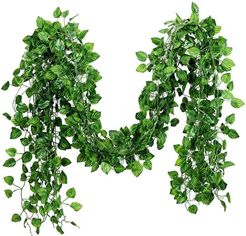 12 Pack 84Ft Artificial Fake Ivy Leaves Garland Hanging Vines Plant Artificial Plants Greenery Foliage Garland Faux Vine for for Wedding Party Garden Wall Lndoor & Outdoor Decoration (Ivy Leaves)