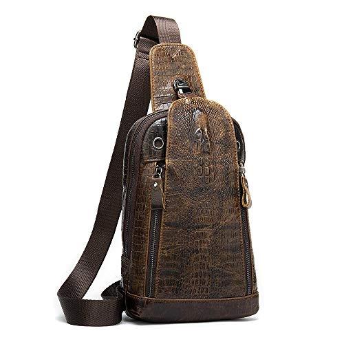 Borsa a tracolla da uomo in pelle bovina modello coccodrillo borsa a tracolla per auricolari borsa a tracolla da 7,9 pollici zaino per iPad-Marrone