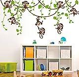 ufengke® Niedlichen Affen Klettern Baum Reben Wandsticker, Kinderzimmer Babyzimmer Entfernbare Wandtattoos Wandbilder