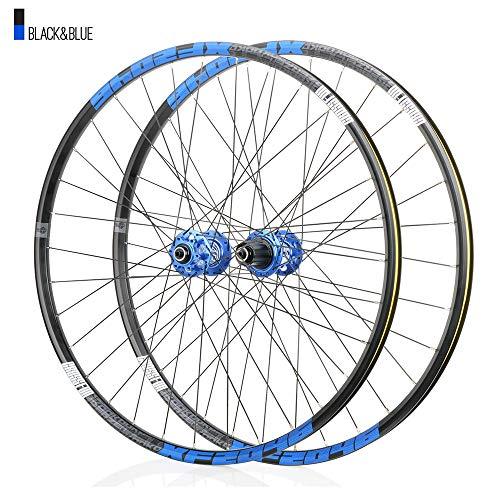 Juego ruedas Conjunto bicicleta montaña Azul MTB doble pared Aleación aluminio Cubo rueda libre Freno disco llanta Liberación rápida Rodamientos Ciclismo delantera rueda trasera,8-12 velocidad,29'