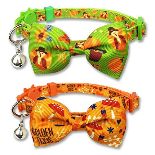 Pohshido Herbst-Katzenhalsband, Kürbis-Herbst-Katzenhalsband für Kätzchen, Mädchen und Jungen, männliche weibliche Katzen (Muster A)