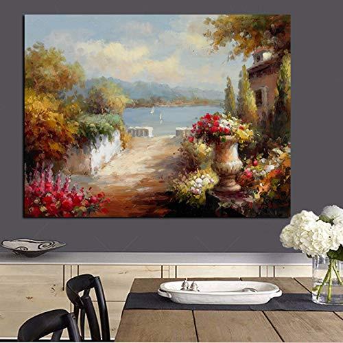 wZUN Pintura al óleo Abstracta del Paisaje del jardín mediterráneo de la impresión de HD en el Cartel del sofá de la Lona Imagen de la Pared de la Sala de Estar del Arte 60x90 Sin Marco