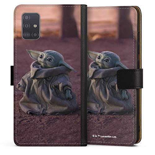 DeinDesign Klapphülle kompatibel mit Samsung Galaxy A51 Handyhülle aus Leder schwarz Flip Hülle Star Wars The Child Baby Yoda
