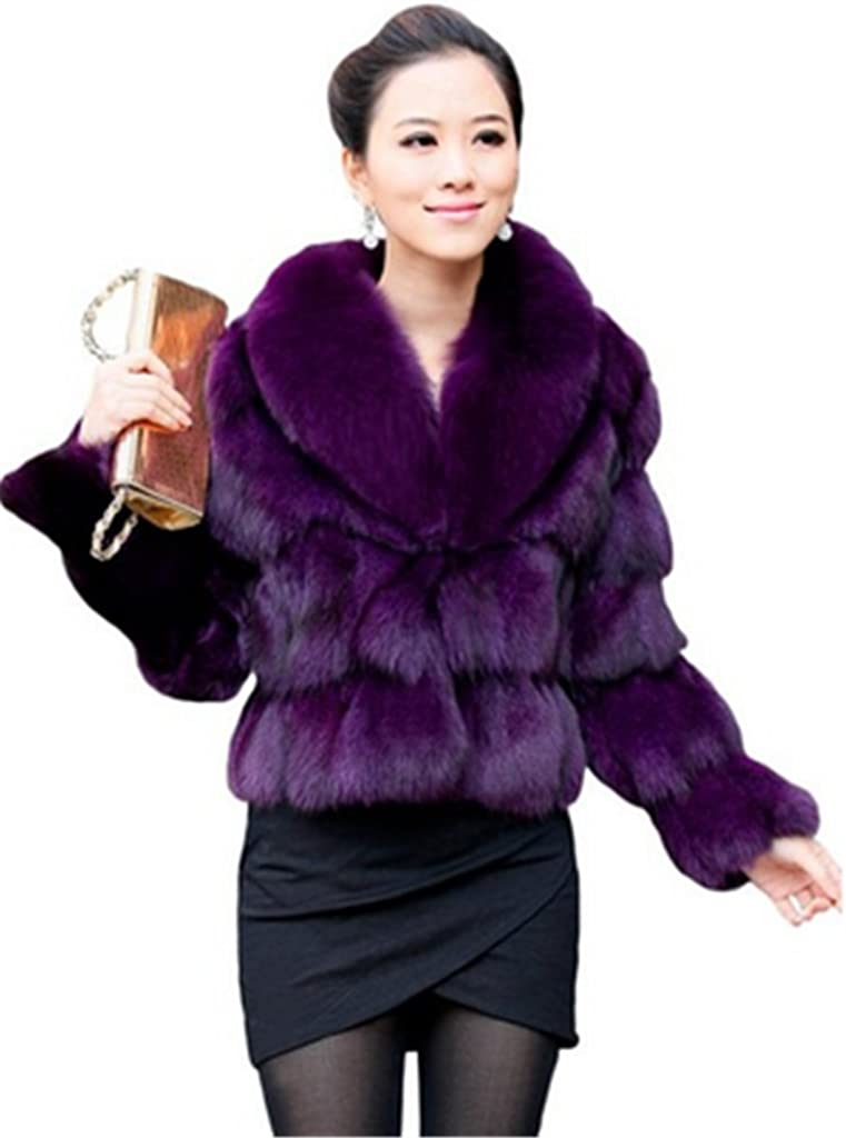 YR Lover Women's Natural Fox Fur Outwear Coat Jacket with Super Collar