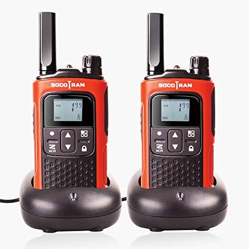Walkie Talkie recargable de larga distancia Walkie Talkie SOCOTRAN T80 PMR con código de privacidad VOX PMR446 Radio de jamón Portátil gratis Radio de 2 vías 8CH con base de cargador (paquete de radio doble)