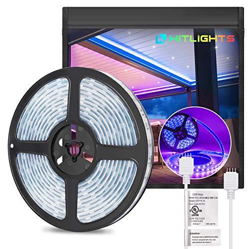 HitLights Waterproof RGB LED Strip Lights 300LED IP67 5050 16.4FT UL-Listed Light Strips 12V LED Lights for Room Under Kitchen Bedroom Home Decoration