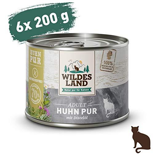 Wildes Land | Nassfutter für Katzen | Nr. 3 Huhn PUR | 6 x 200 g | Getreidefrei & Hypoallergen | Extra viel Fleisch | Beste Akzeptanz und Verträglichkeit