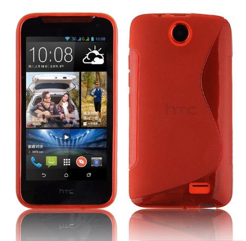 Cadorabo Hülle für HTC Desire 310 in Inferno ROT – Handyhülle aus flexiblem TPU Silikon – Silikonhülle Schutzhülle Ultra Slim Soft Back Cover Hülle Bumper