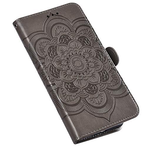 QPOLLY Kompatibel für iPhone 11 Hülle,PU Leder Klapphülle Mandala Blumenmuster Ledertasche mit Kartenfach im Brieftasche-Stil Magnet Schutzhülle Standfunktion Handytasche Book Case,Grau