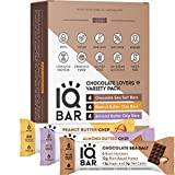 IQBAR Brain + Body Protein Bars, Chocolate Lovers Variety, Keto, Vegan, Paleo Friendly, Low Sugar, Low Net Carb, High Fiber, Gluten Free, No Sugar Alcohols, 12 Count