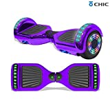 TPS 6.5' Hoverboard Electric Self Balancing Scooter with Wireless Speaker and LED Lights for Kids and Adults - UL2272 Safety Certified (Metallic Purple)