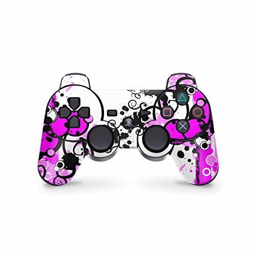Skins4u Controller Skin Designfolie Aufkleber kompatibel mit Playstation 3 PS3 Simple Pink