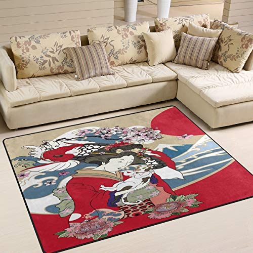 Use7 Japanese Wave Geisha with Cat Koi Carp Fish Flower Fuji Mountain Area Rug Rugs for Living Room Bedroom 203cm x 147.3cm(7 x 5 feet)