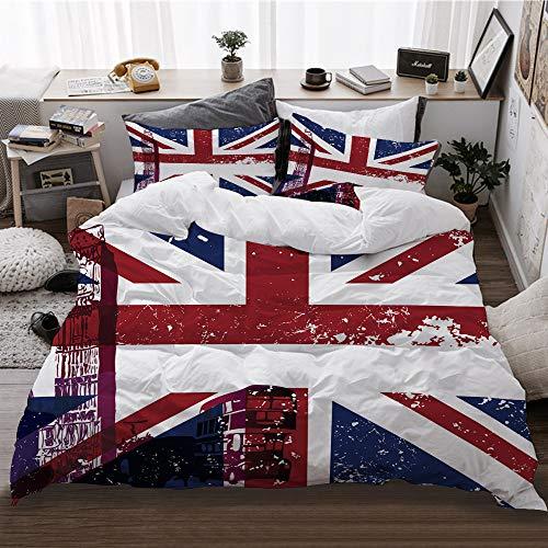 HATESAH Funda De Edredón,Símbolos de Londres, Inglaterra, Reino Unido, Gran Cabina telefónica y la Bandera Nacional de Union Jack,3 Pcs Ropa de Cama Funda Nórdica Sábana Bajera (140 * 200CM)