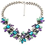XingBeiBei Fashion Female Flower Gemstone Inlay Acrylic Alloy Necklace