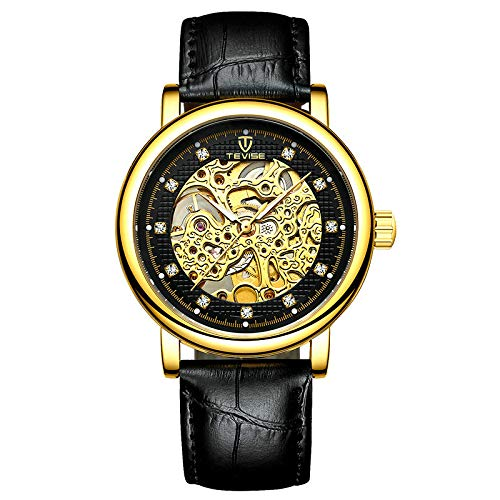 STM32 by ST Watch Waterproof Business Watch Luminous Men's Watch Full Mechanical Men's Watch Mechanical Watch-T8462-Full Gold Black