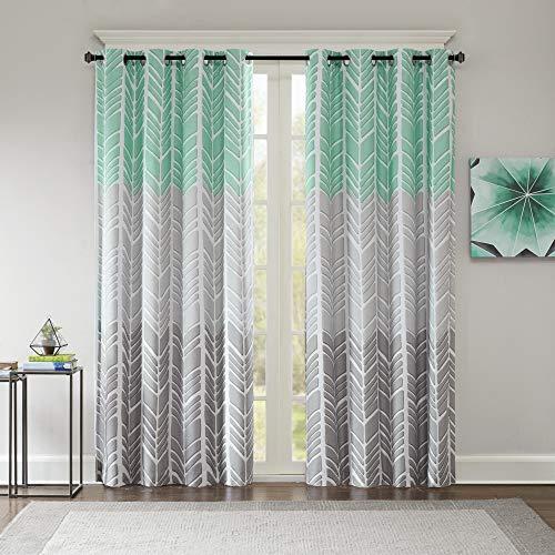 Intelligent Design Adel Blackout Bedroom, Casual Window Living Room, Family, Geometric Grommet Room Darkening Black Out Curtain 1-Panel Pack, 50x84, Aqua