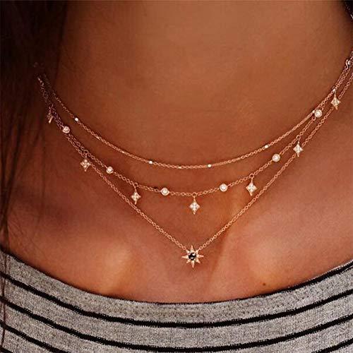 Anglacesmade - Collana girocollo a strati in Boemia con stelle e cristalli, con ciondolo a forma di stella e stella multistrato, per donne e ragazze