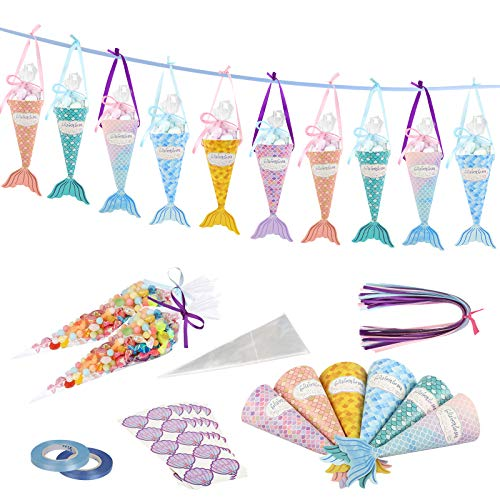 ZERHOK Meerjungfrauen Geschenkschachtel, 48 Sets Mermaid Süßigkeiten Papierboxen Meerjungfrau Flossen Geschenkverpackung Box Pralinenschachtel für Kindergeburtstag Party Mitgebsel