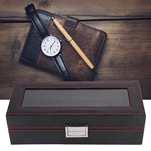 Caja de reloj del estilo de la fibra de carbono del cuero de la PU, elegante caja de almacenamiento del reloj, tienda de relojes para el hogar