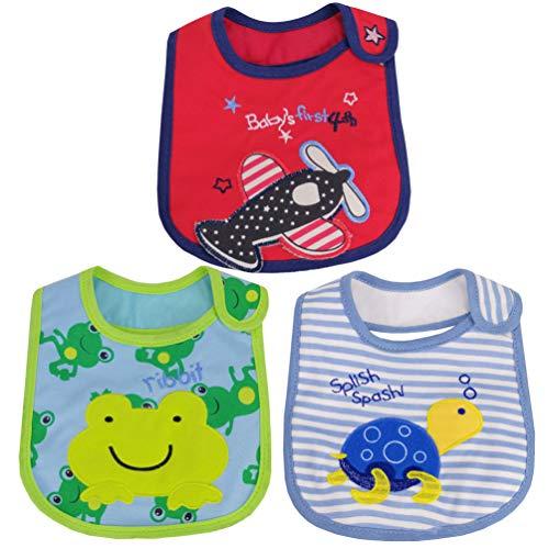 NUOBESTY Babero para bebé, babero, babero, babero, babero, babero, babero, babero, de alimentación, para recién nacido, 3 unidades (color al azar)
