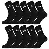 10 Paar i1R Damen und Herren Socken Sportsocken Tennissocken Baumwolle Schwarz oder Weiß (43-46, 10 Paar | Schwarz)