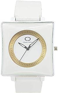 Charles Delon Mens Quartz Watch, Analog Display and Leather Strap 5357 GWWW