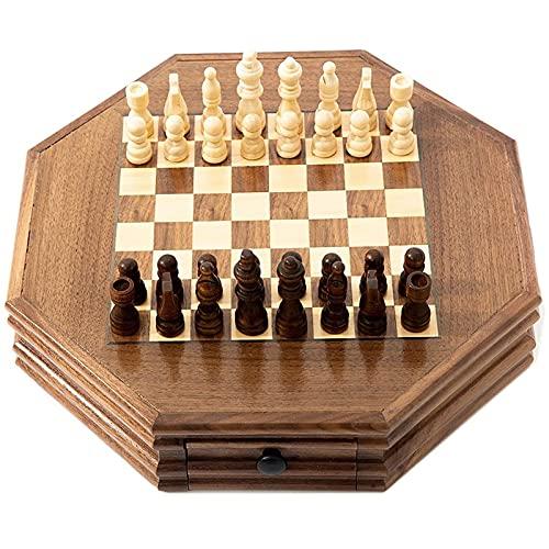 Magnetyczny drewniany zestaw szachów z anyżu gwiazdkowego, standardowy zestaw do gry w szachy, prezent dla międzynarodowych miłośników szachów/początkujących i uczących się